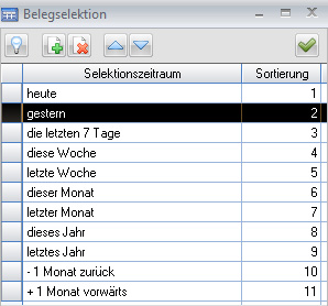 Eigene Belegselektion - Verwaltung