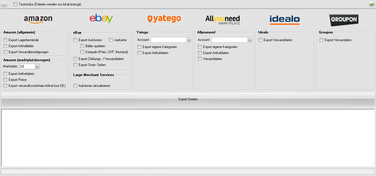 eBay Large Merchant Services Export-Dialog