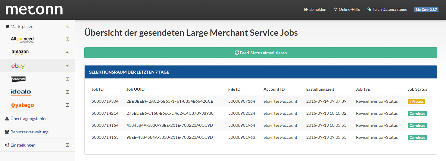 Warenwirtschaft eBay Large Merchant Services (LMS) Export Jobs