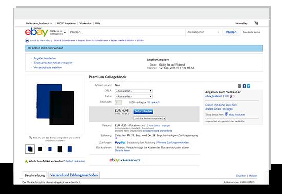 Warenwirtschaft eBay Large Merchant Services (LMS) Auktion